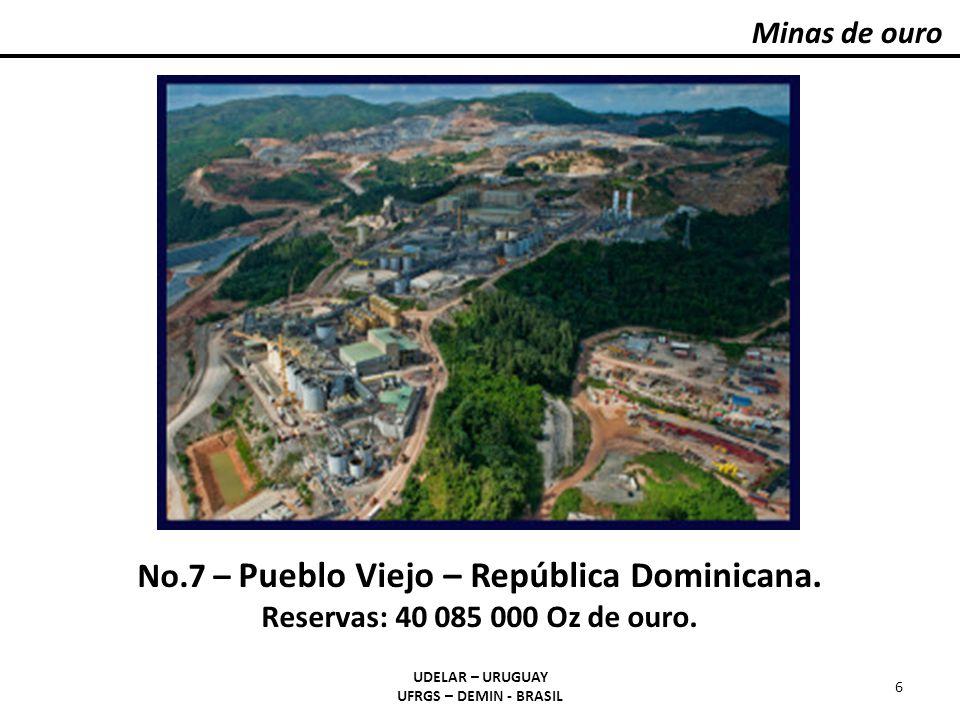 Minas de ouro UDELAR – URUGUAY UFRGS – DEMIN - BRASIL 6 No.7 – Pueblo Viejo – República Dominicana. Reservas: 40 085 000 Oz de ouro.