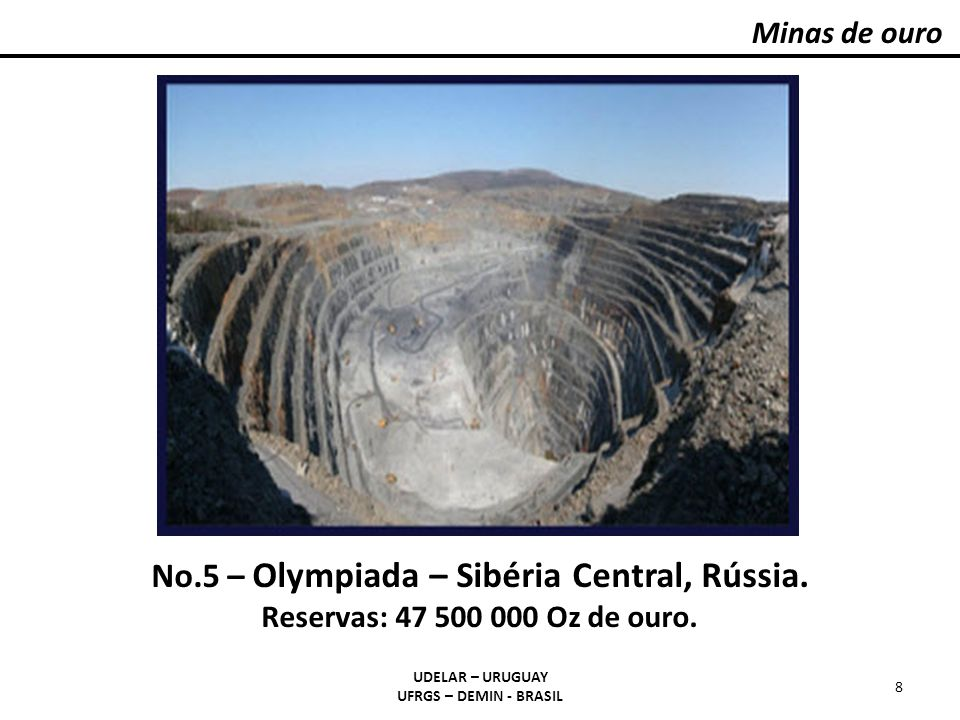 Minas de ouro – Região de Witwatersrand - África do Sul UDELAR – URUGUAY UFRGS – DEMIN - BRASIL 19 Mapa geológico da região de Witwatersrand e localização dos depósitos de ouro.