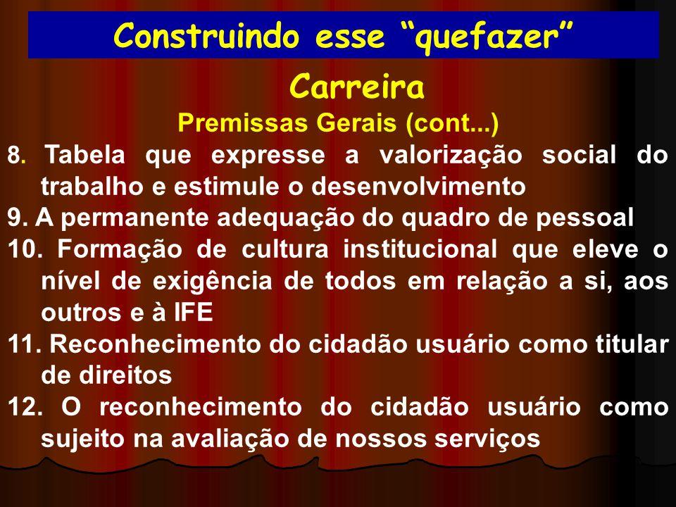 Construindo esse quefazer Carreira Premissas Gerais (cont...) 8. Tabela que expresse a valorização social do trabalho e estimule o desenvolvimento 9.