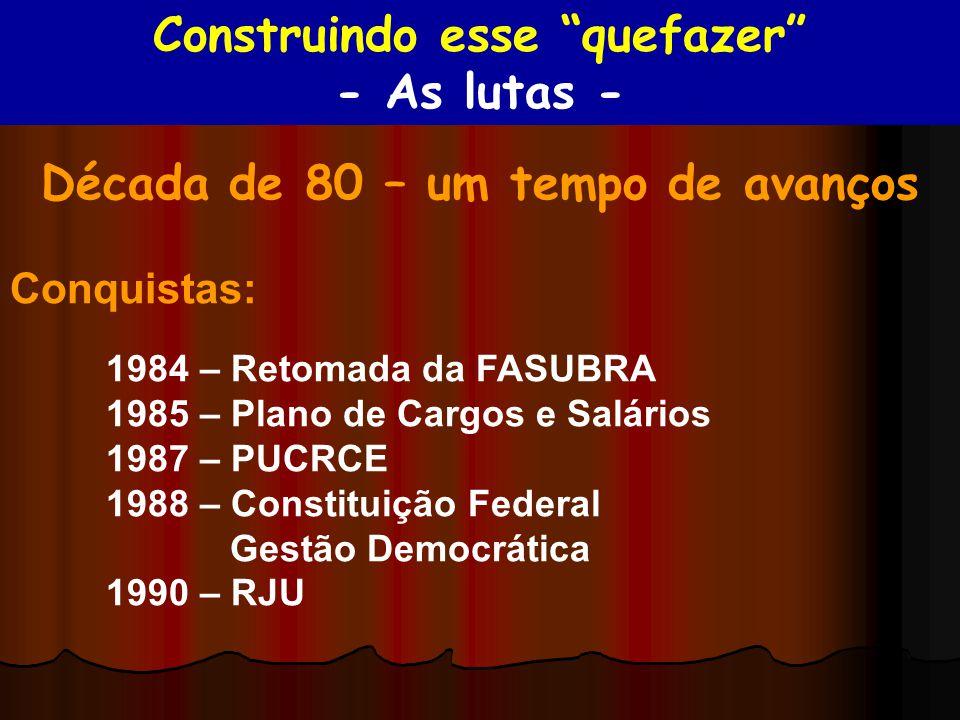 Década de 80 – um tempo de avanços Conquistas: 1984 – Retomada da FASUBRA 1985 – Plano de Cargos e Salários 1987 – PUCRCE 1988 – Constituição Federal