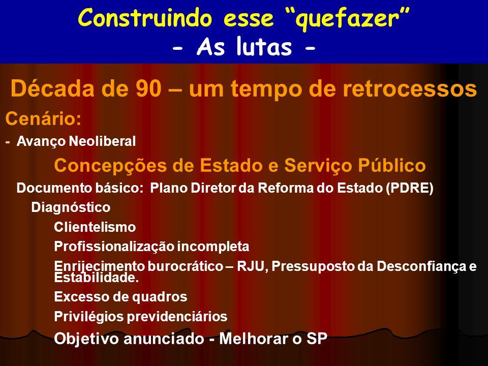 Década de 90 – um tempo de retrocessos Cenário: - Avanço Neoliberal Concepções de Estado e Serviço Público Documento básico: Plano Diretor da Reforma
