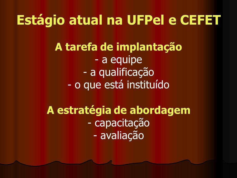 Estágio atual na UFPel e CEFET A tarefa de implantação - a equipe - a qualificação - o que está instituído A estratégia de abordagem - capacitação - avaliação
