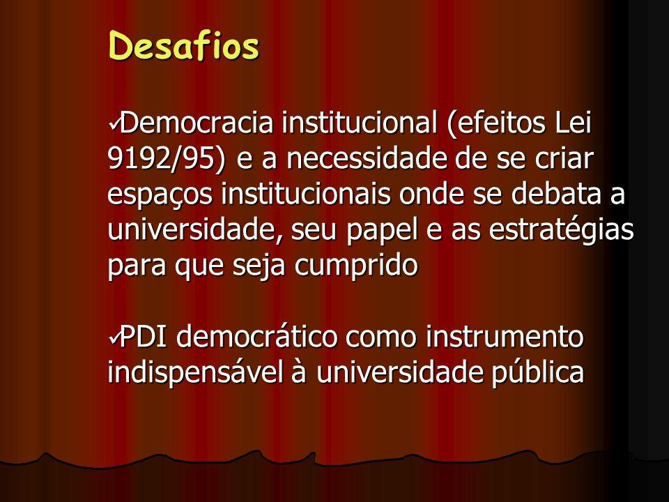 Desafios Democracia institucional (efeitos Lei 9192/95) e a necessidade de se criar espaços institucionais onde se debata a universidade, seu papel e as estratégias para que seja cumprido Democracia institucional (efeitos Lei 9192/95) e a necessidade de se criar espaços institucionais onde se debata a universidade, seu papel e as estratégias para que seja cumprido PDI democrático como instrumento indispensável à universidade pública PDI democrático como instrumento indispensável à universidade pública