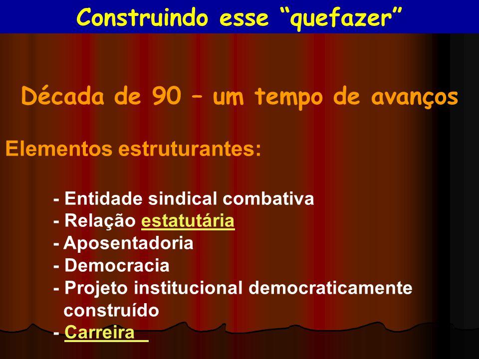 Década de 90 – um tempo de avanços Elementos estruturantes: - Entidade sindical combativa - Relação estatutáriaestatutária - Aposentadoria - Democraci