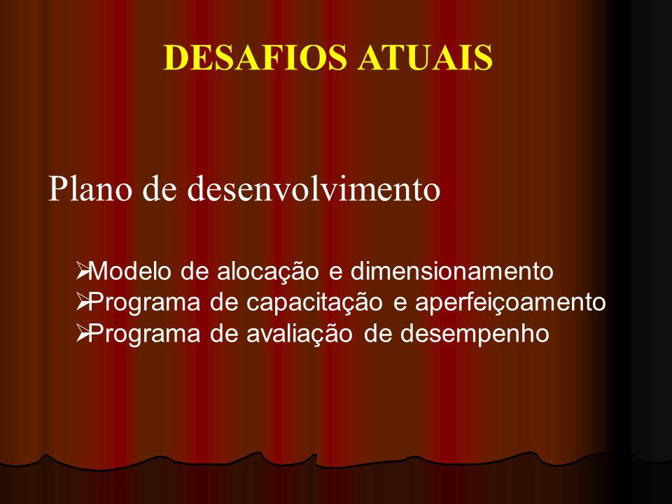 DESAFIOS ATUAIS Plano de desenvolvimento Modelo de alocação e dimensionamento Programa de capacitação e aperfeiçoamento Programa de avaliação de desempenho