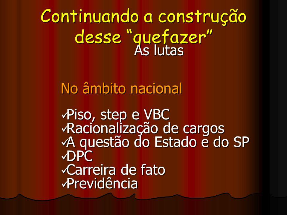 Continuando a construção desse quefazer As lutas No âmbito nacional Piso, step e VBC Piso, step e VBC Racionalização de cargos Racionalização de cargo