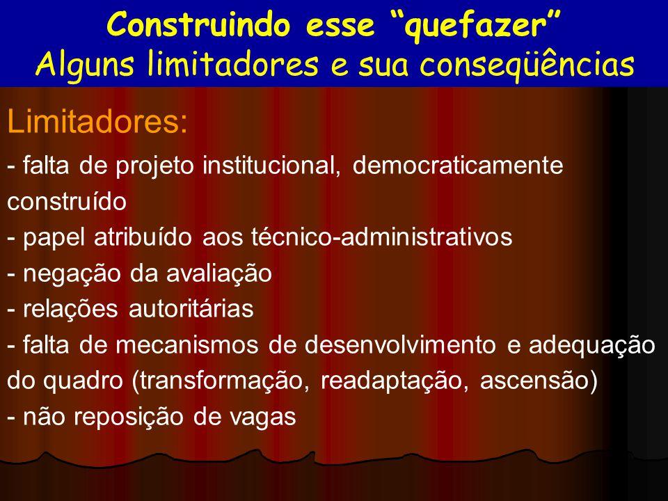Limitadores: - falta de projeto institucional, democraticamente construído - papel atribuído aos técnico-administrativos - negação da avaliação - rela
