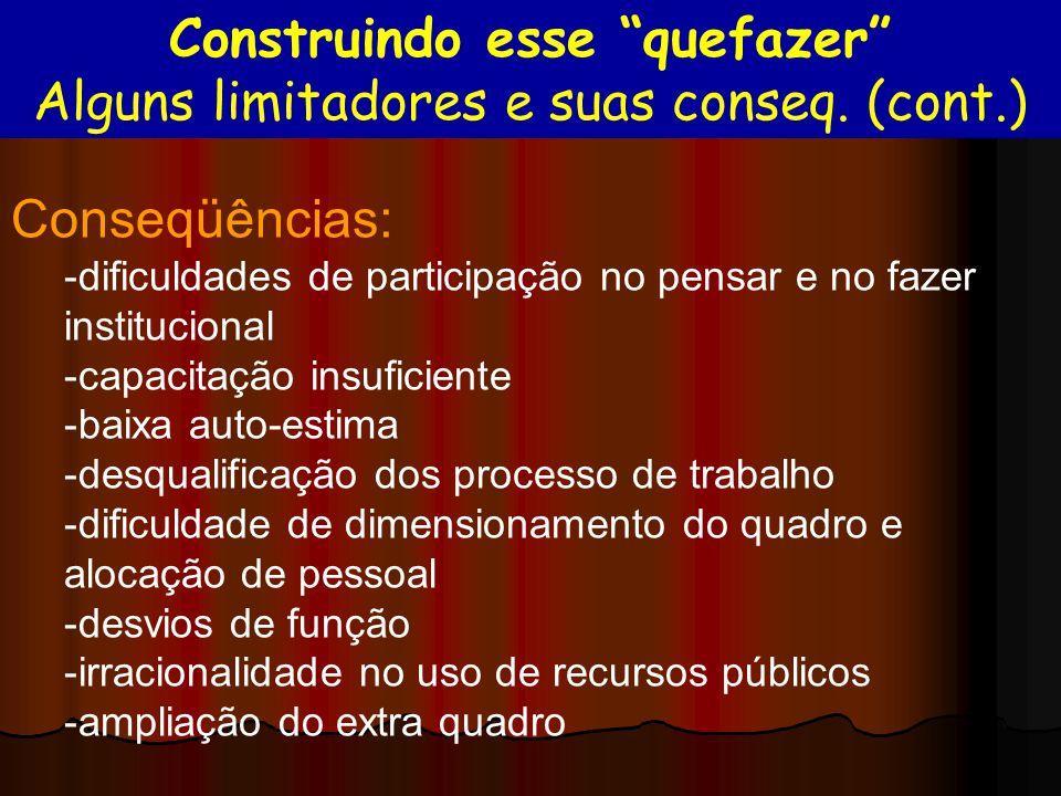 Conseqüências: -dificuldades de participação no pensar e no fazer institucional -capacitação insuficiente -baixa auto-estima -desqualificação dos proc