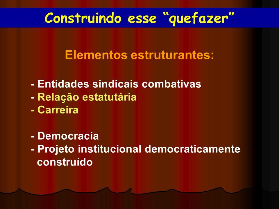 Elementos estruturantes: - Entidades sindicais combativas - Relação estatutária - Carreira - Democracia - Projeto institucional democraticamente construído Construindo esse quefazer