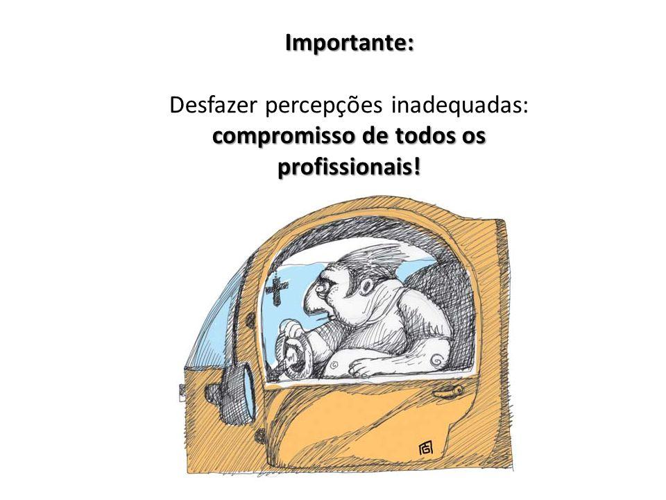 Importante: compromisso de todos os profissionais! Desfazer percepções inadequadas: compromisso de todos os profissionais!