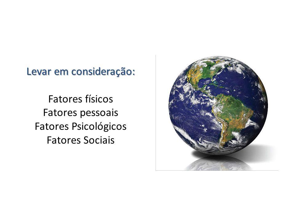 Levar em consideração: Fatores físicos Fatores pessoais Fatores Psicológicos Fatores Sociais