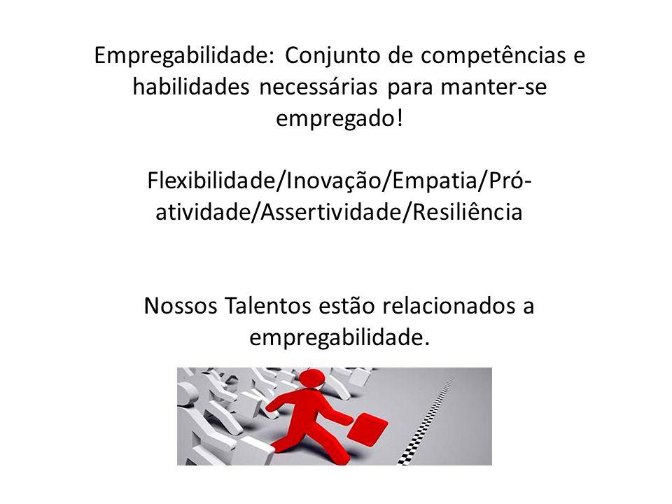 Empregabilidade: Conjunto de competências e habilidades necessárias para manter-se empregado! Flexibilidade/Inovação/Empatia/Pró- atividade/Assertivid
