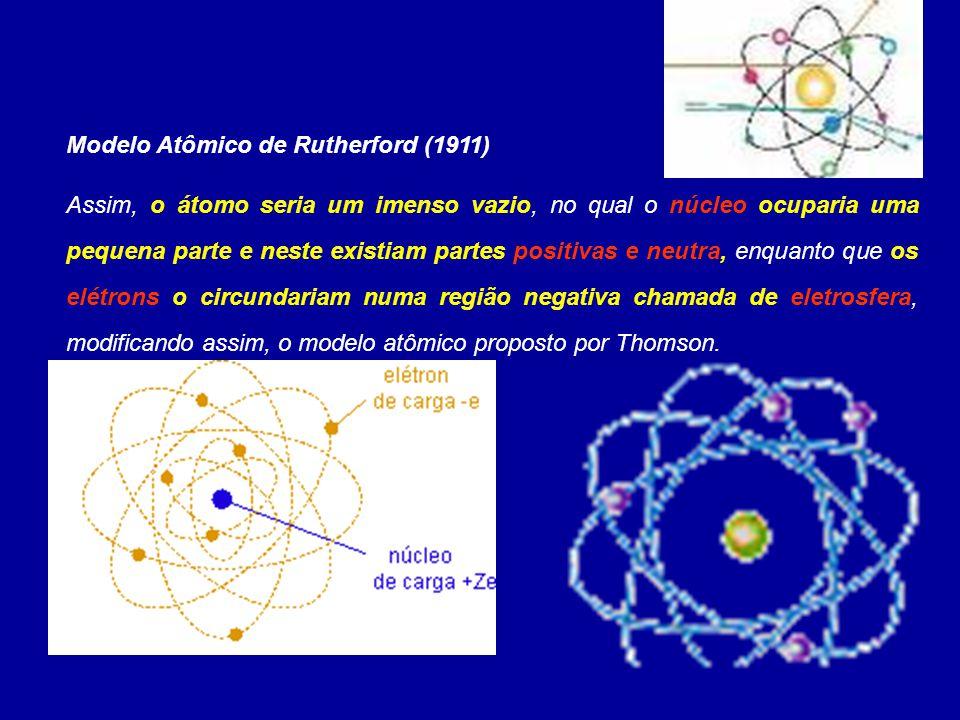 Modelo Atômico de Rutherford (1911) Assim, o átomo seria um imenso vazio, no qual o núcleo ocuparia uma pequena parte e neste existiam partes positiva