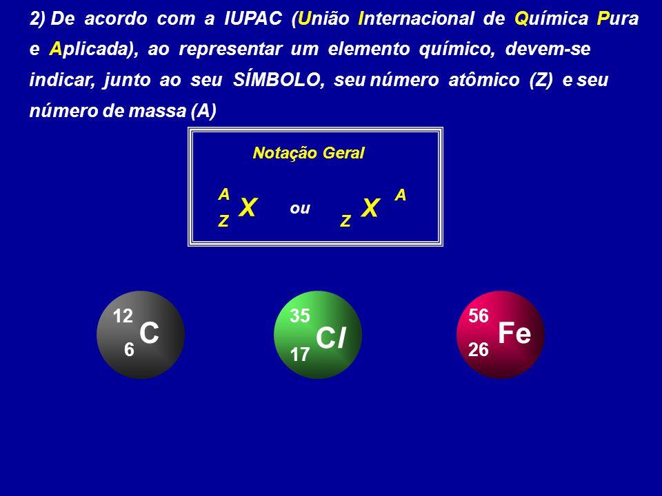2) De acordo com a IUPAC (União Internacional de Química Pura e Aplicada), ao representar um elemento químico, devem-se indicar, junto ao seu SÍMBOLO,
