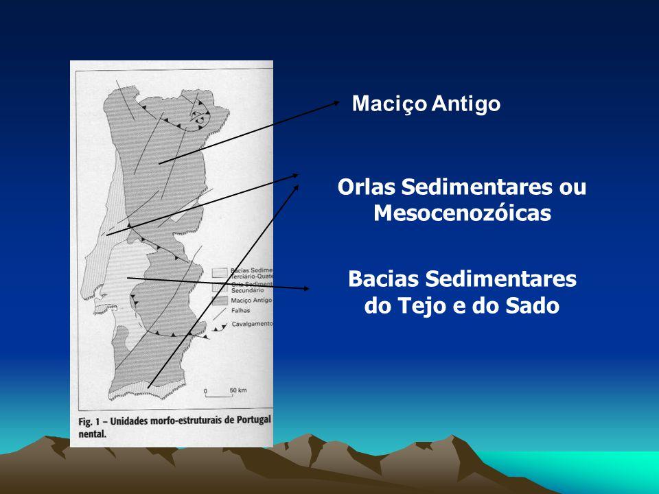 Maciço Antigo Orlas Sedimentares ou Mesocenozóicas Bacias Sedimentares do Tejo e do Sado