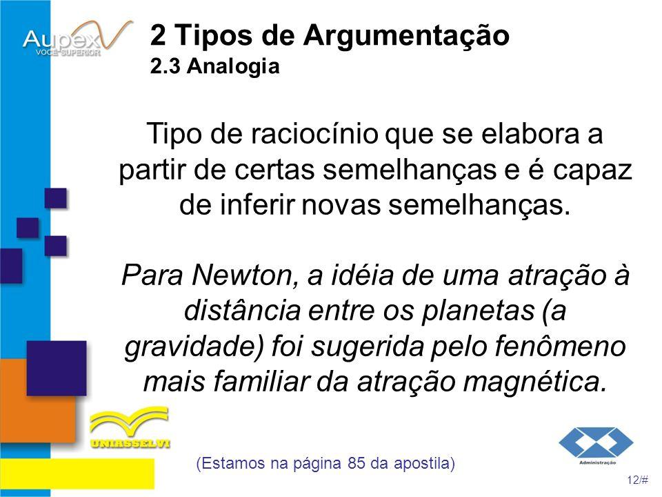 2 Tipos de Argumentação 2.3 Analogia Tipo de raciocínio que se elabora a partir de certas semelhanças e é capaz de inferir novas semelhanças. Para New