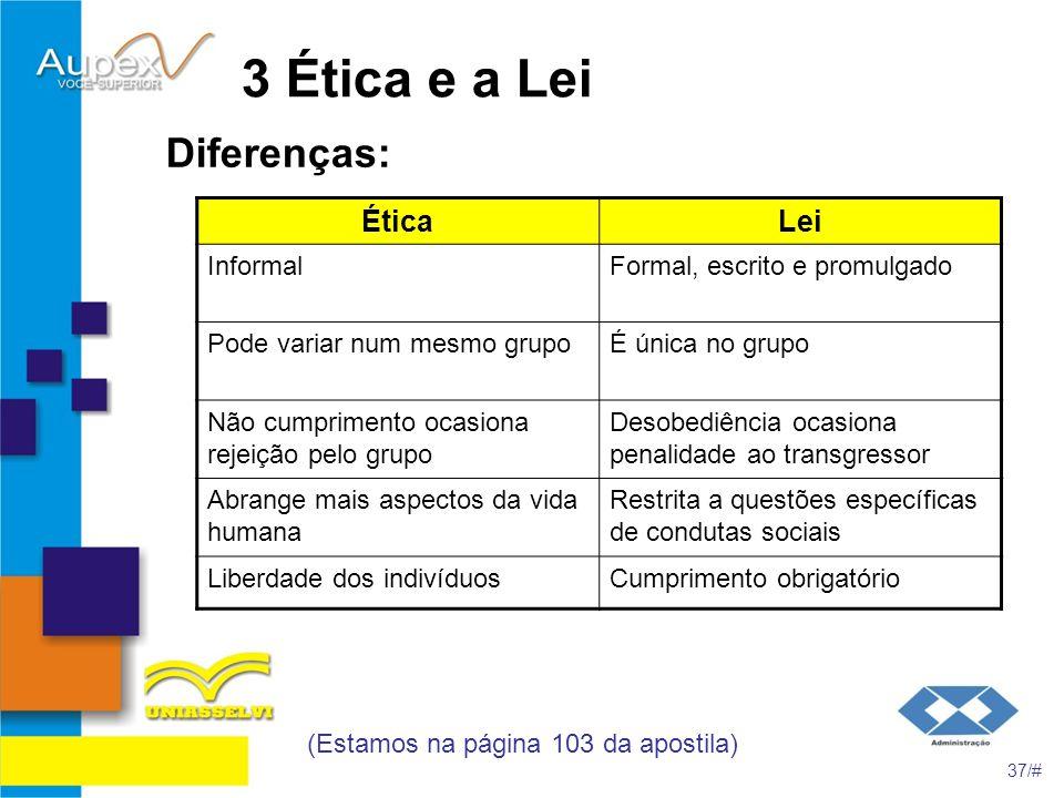 3 Ética e a Lei Diferenças: (Estamos na página 103 da apostila) 37/# ÉticaLei InformalFormal, escrito e promulgado Pode variar num mesmo grupoÉ única
