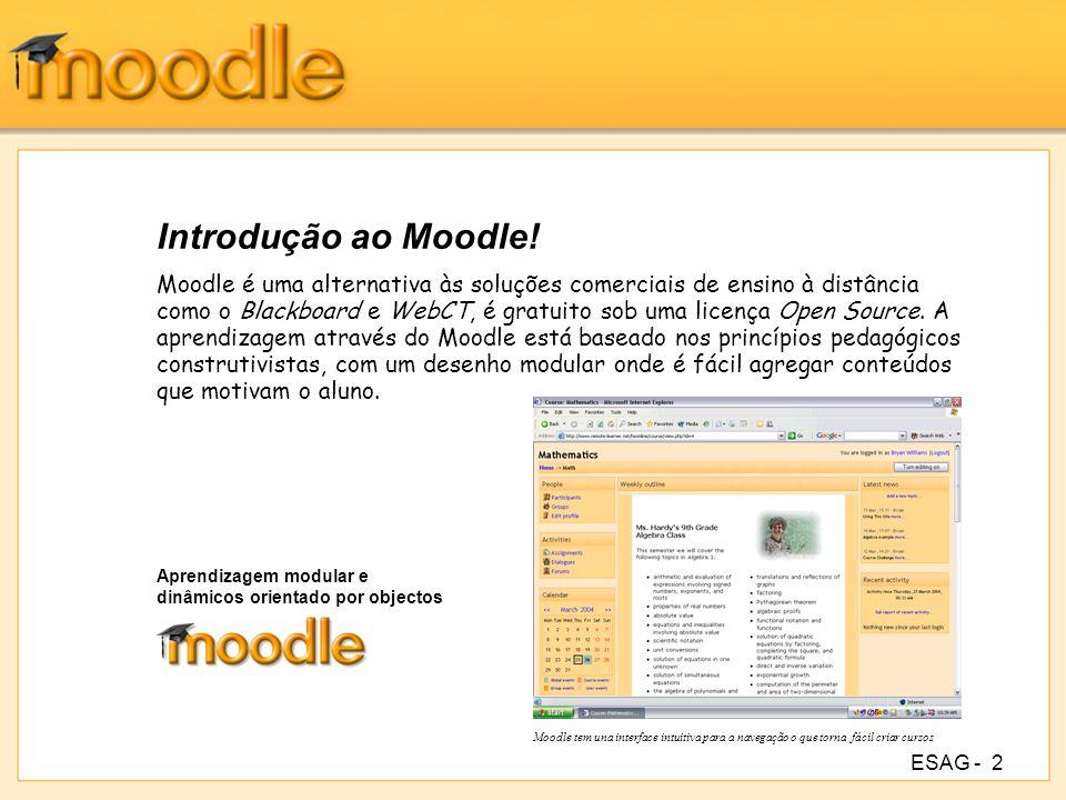 ESAG -3 Aspectos gerais do Moodle Promove uma pedagogia de construtivismo social (colaboração, actividades, reflexão crítica, etc.); Adequado para cursos 100% online bem como para complementar um curso presencial; Simples, leve, eficiente, compatível, com interface com navegadores de baixa tecnologia; Fácil de instalar em qualquer plataforma que suporte PHP.
