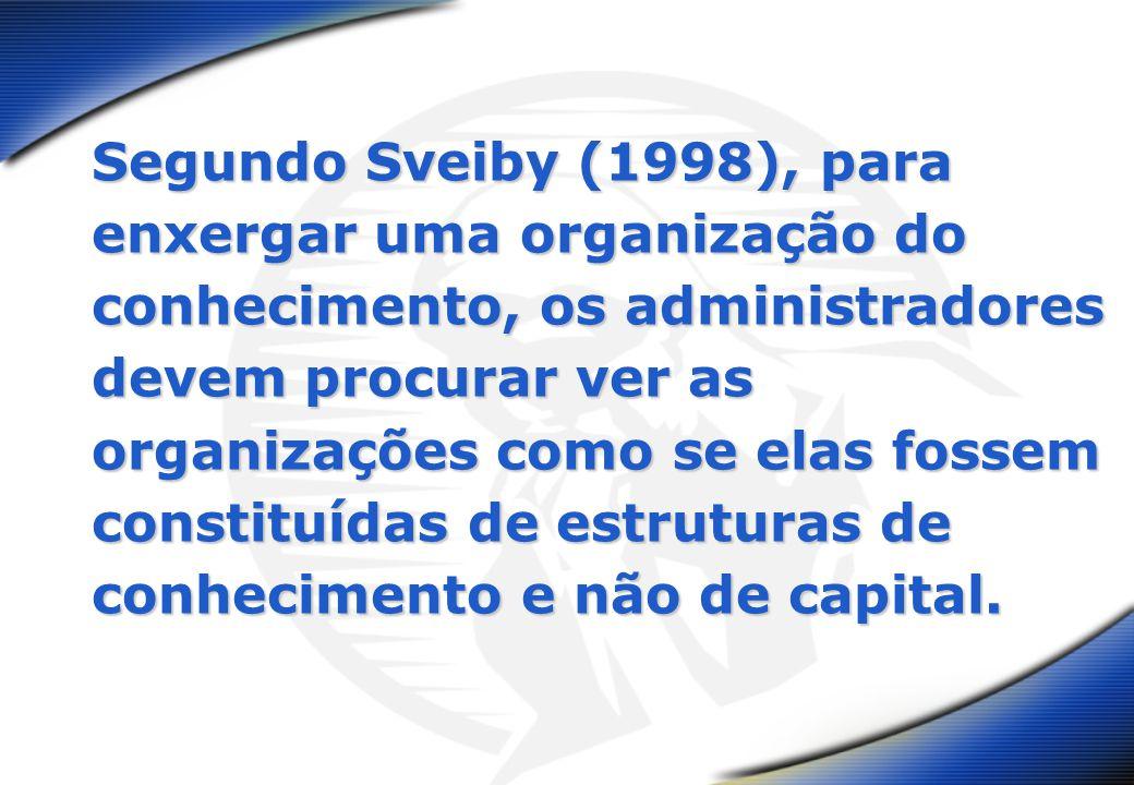 Segundo Sveiby (1998), para enxergar uma organização do conhecimento, os administradores devem procurar ver as organizações como se elas fossem consti