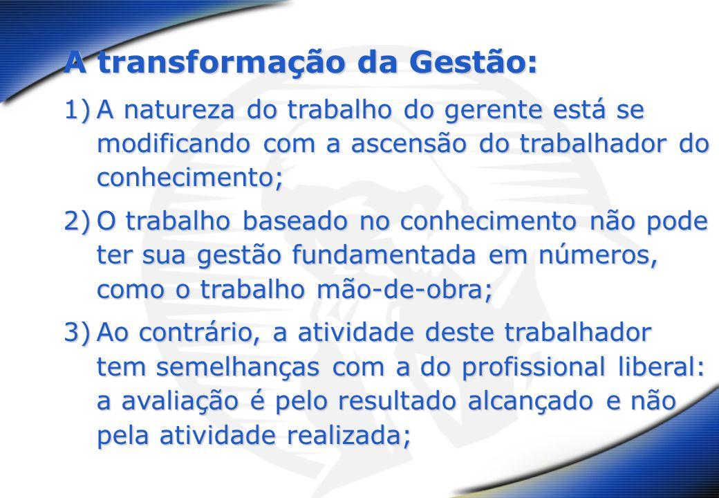 A transformação da Gestão: 1)A natureza do trabalho do gerente está se modificando com a ascensão do trabalhador do conhecimento; 2)O trabalho baseado