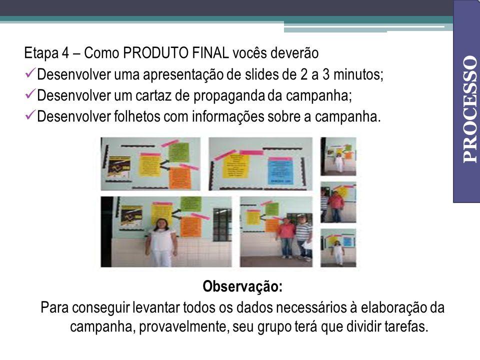 Etapa 4 – Como PRODUTO FINAL vocês deverão Desenvolver uma apresentação de slides de 2 a 3 minutos; Desenvolver um cartaz de propaganda da campanha; D