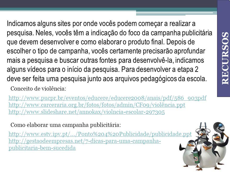 RECURSOS Conceito de violência: http://www.pucpr.br/eventos/educere/educere2008/anais/pdf/586_903pdf http://www.carceraria.org.br/fotos/fotos/admin/CF
