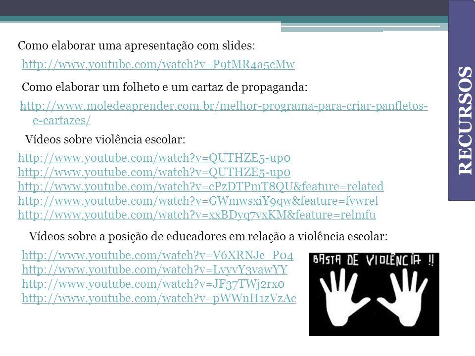 http://www.moledeaprender.com.br/melhor-programa-para-criar-panfletos- e-cartazes/ Como elaborar uma apresentação com slides: http://www.youtube.com/w