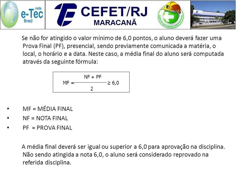 A apuração da nota final dar-se-á através da fórmula a seguir: NF = NOTA FINAL AP = ATIVIDADES NA PLATAFORMA (À DISTÂNCIA) (10 pontos) + PONTO EXTRA (