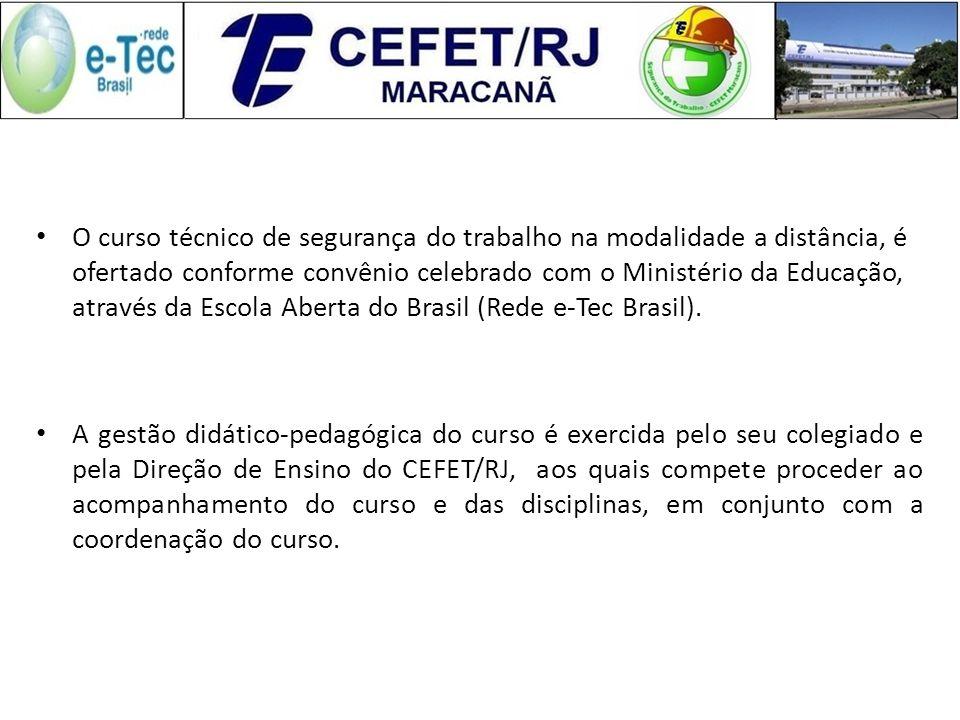 O curso técnico de segurança do trabalho na modalidade a distância, é ofertado conforme convênio celebrado com o Ministério da Educação, através da Escola Aberta do Brasil (Rede e-Tec Brasil).