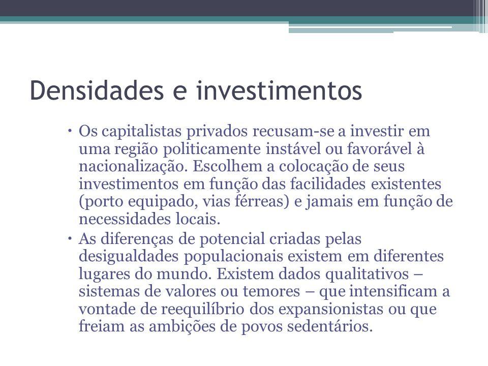 Densidades e investimentos Os capitalistas privados recusam-se a investir em uma região politicamente instável ou favorável à nacionalização. Escolhem