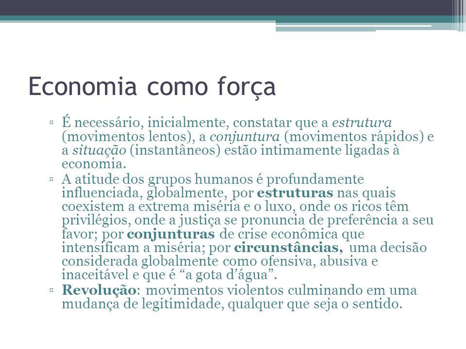 Economia como força É necessário, inicialmente, constatar que a estrutura (movimentos lentos), a conjuntura (movimentos rápidos) e a situação (instant
