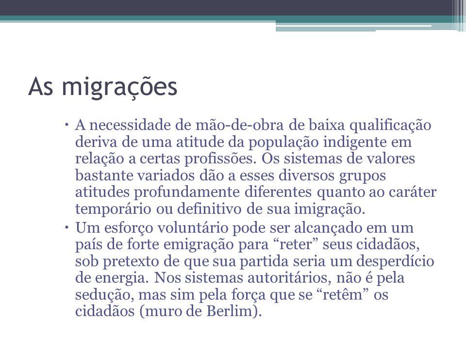 As migrações A necessidade de mão-de-obra de baixa qualificação deriva de uma atitude da população indigente em relação a certas profissões. Os sistem