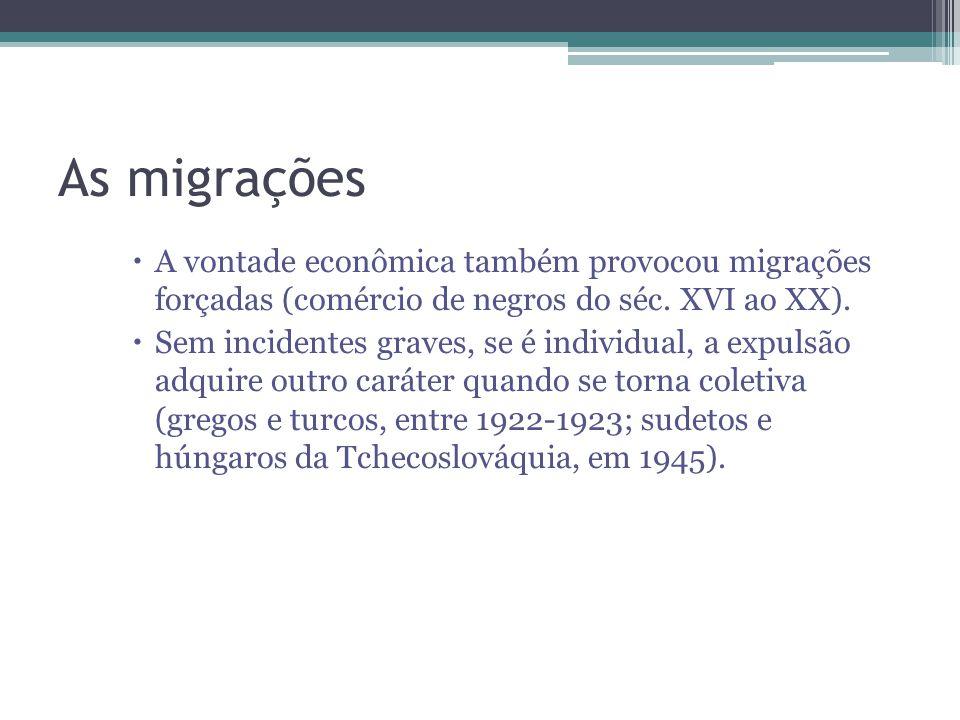 As migrações A vontade econômica também provocou migrações forçadas (comércio de negros do séc. XVI ao XX). Sem incidentes graves, se é individual, a