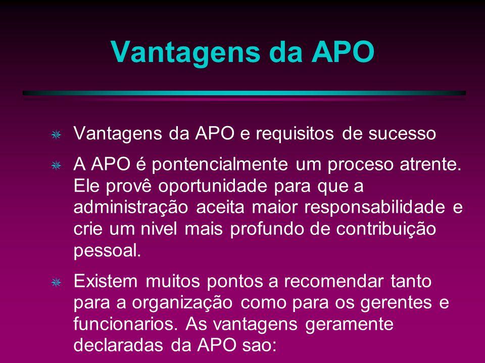 Vantagens da APO Vantagens da APO e requisitos de sucesso A APO é pontencialmente um proceso atrente. Ele provê oportunidade para que a administração