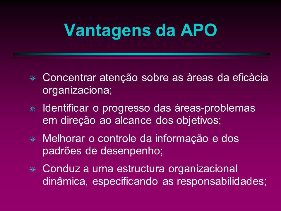 Vantagens da APO Concentrar atenção sobre as àreas da eficàcia organizaciona; Identificar o progresso das àreas-problemas em direção ao alcance dos objetivos; Melhorar o controle da informação e dos padrões de desenpenho; Conduz a uma estructura organizacional dinâmica, especificando as responsabilidades;