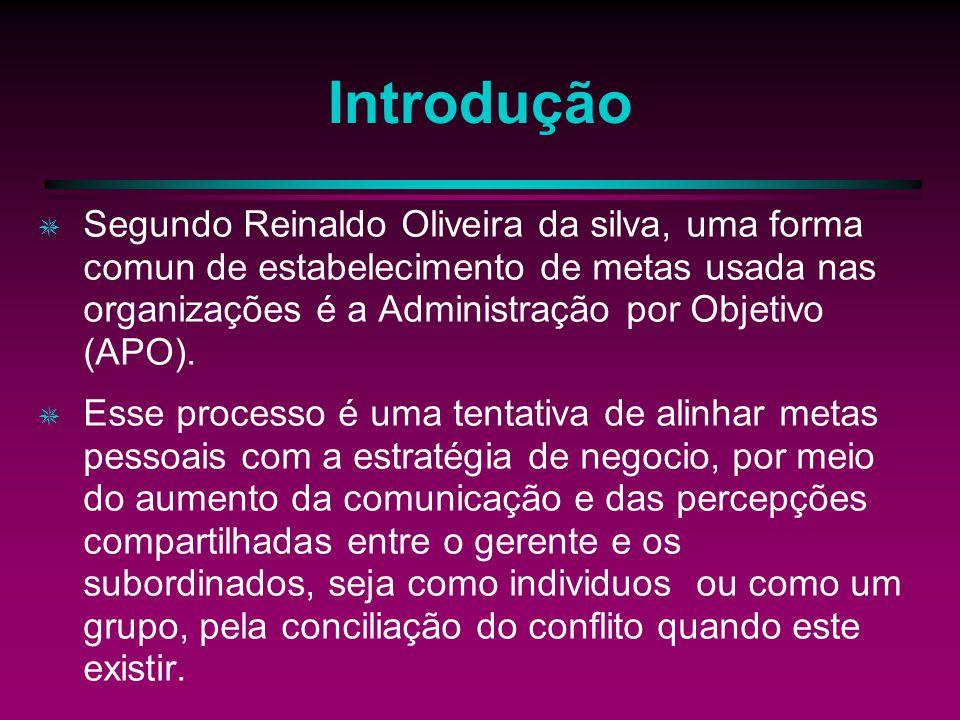 Introdução Segundo Reinaldo Oliveira da silva, uma forma comun de estabelecimento de metas usada nas organizações é a Administração por Objetivo (APO).