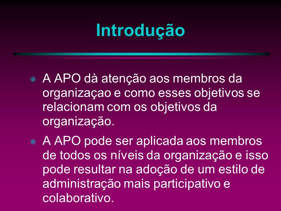 Introdução A APO dà atenção aos membros da organizaçao e como esses objetivos se relacionam com os objetivos da organização. A APO pode ser aplicada a