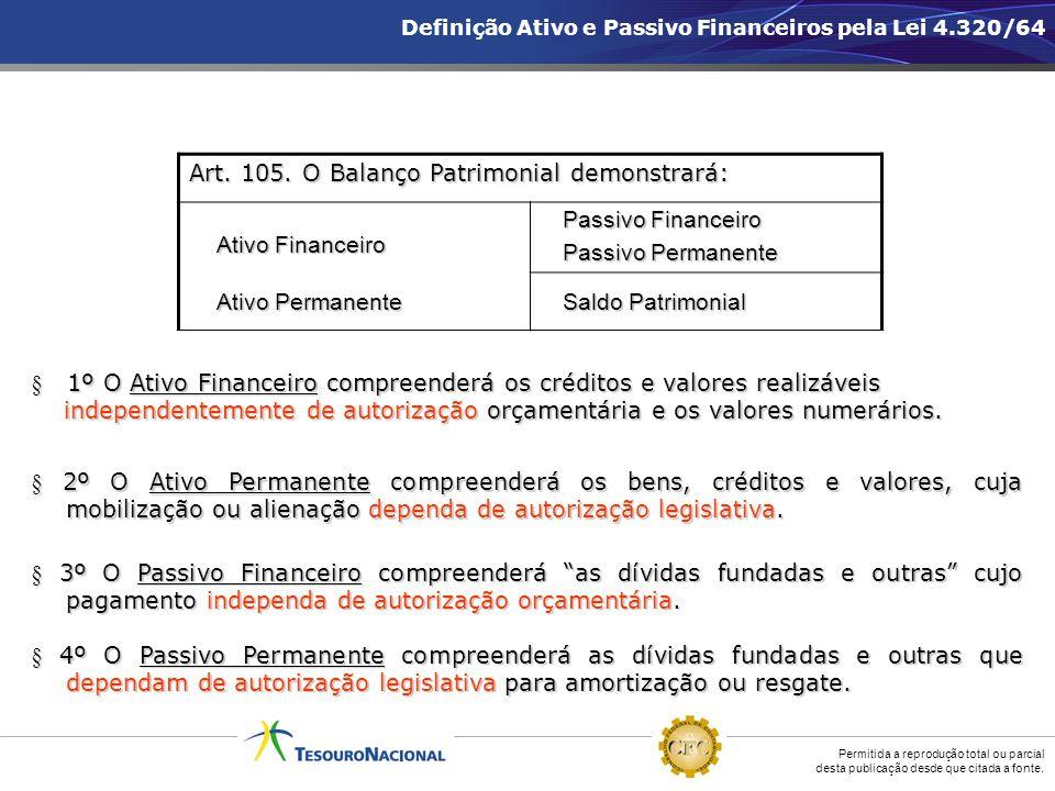 Permitida a reprodução total ou parcial desta publicação desde que citada a fonte. § 1º O Ativo Financeiro compreenderá os créditos e valores realizáv