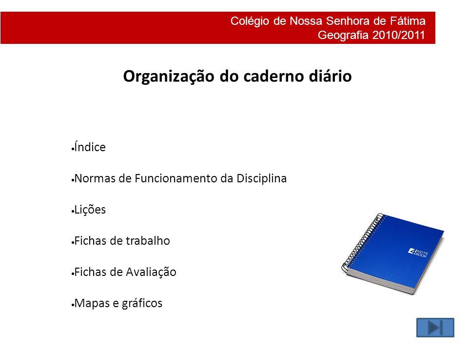Colégio de Nossa Senhora de Fátima Geografia 2010/2011 Organização do caderno diário Índice Normas de Funcionamento da Disciplina Lições Fichas de tra
