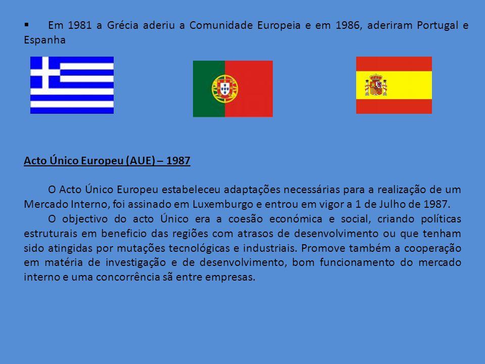 Acto Único Europeu (AUE) – 1987 O Acto Único Europeu estabeleceu adaptações necessárias para a realização de um Mercado Interno, foi assinado em Luxemburgo e entrou em vigor a 1 de Julho de 1987.