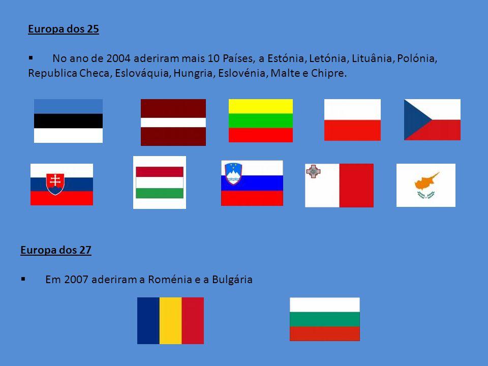 Europa dos 25 No ano de 2004 aderiram mais 10 Países, a Estónia, Letónia, Lituânia, Polónia, Republica Checa, Eslováquia, Hungria, Eslovénia, Malte e Chipre.
