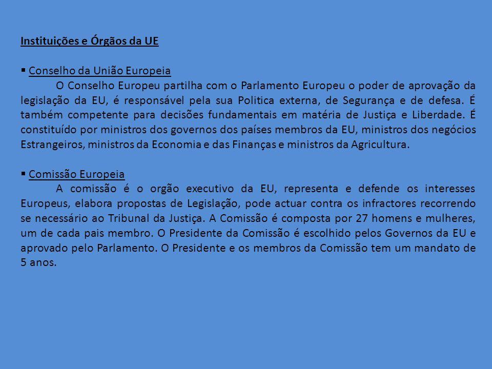 Instituições e Órgãos da UE Conselho da União Europeia O Conselho Europeu partilha com o Parlamento Europeu o poder de aprovação da legislação da EU, é responsável pela sua Politica externa, de Segurança e de defesa.