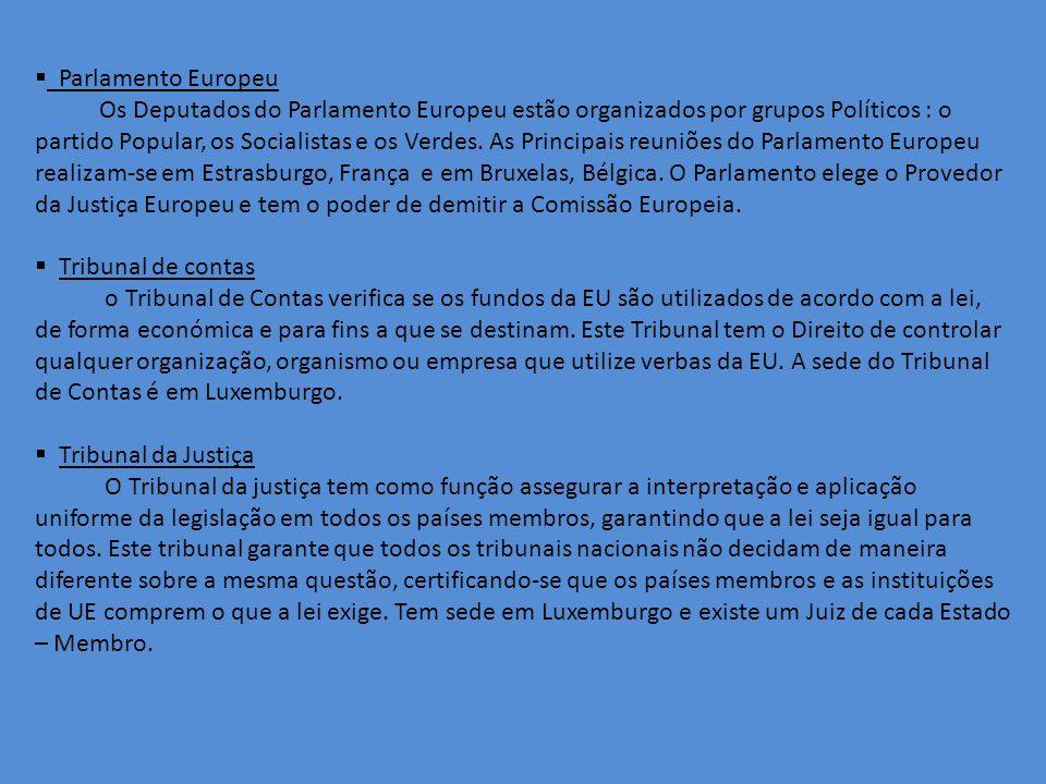 Parlamento Europeu Os Deputados do Parlamento Europeu estão organizados por grupos Políticos : o partido Popular, os Socialistas e os Verdes.