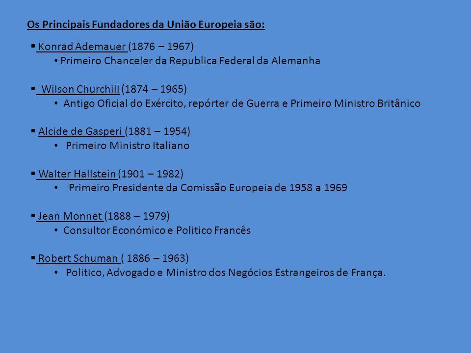 Os Principais Fundadores da União Europeia são: Konrad Ademauer (1876 – 1967) Primeiro Chanceler da Republica Federal da Alemanha Wilson Churchill (1874 – 1965) Antigo Oficial do Exército, repórter de Guerra e Primeiro Ministro Britânico Alcide de Gasperi (1881 – 1954) Primeiro Ministro Italiano Walter Hallstein (1901 – 1982) Primeiro Presidente da Comissão Europeia de 1958 a 1969 Jean Monnet (1888 – 1979) Consultor Económico e Politico Francês Robert Schuman ( 1886 – 1963) Politico, Advogado e Ministro dos Negócios Estrangeiros de França.