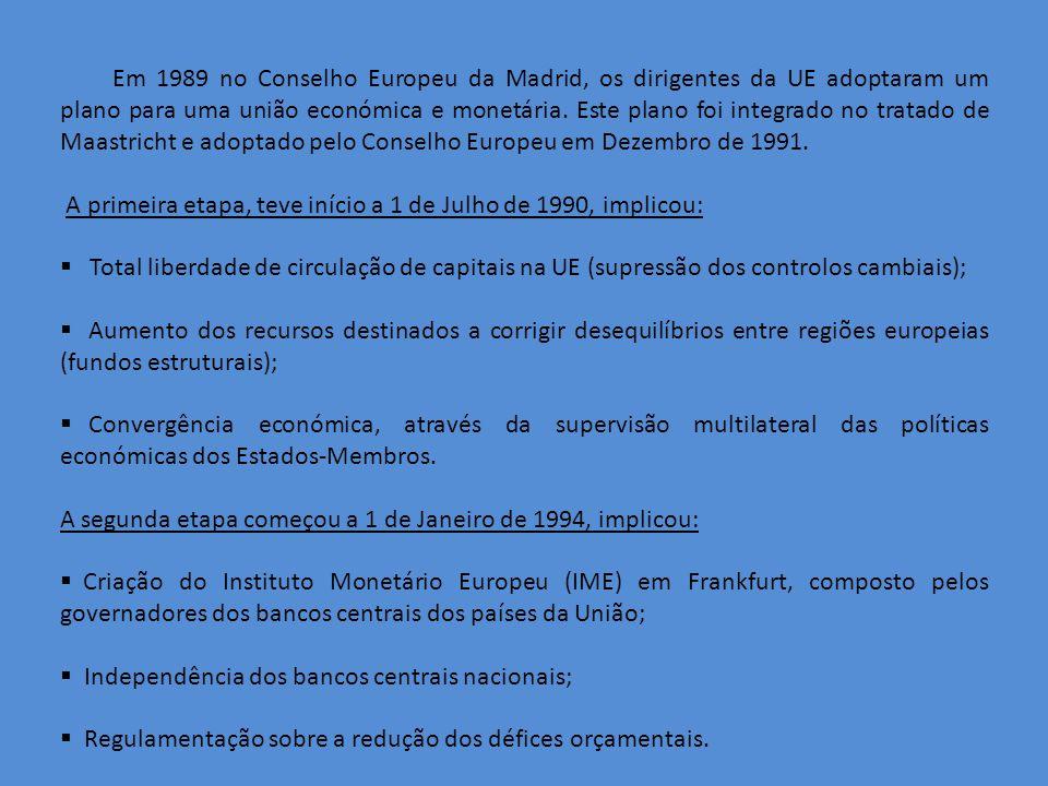 Em 1989 no Conselho Europeu da Madrid, os dirigentes da UE adoptaram um plano para uma união económica e monetária.