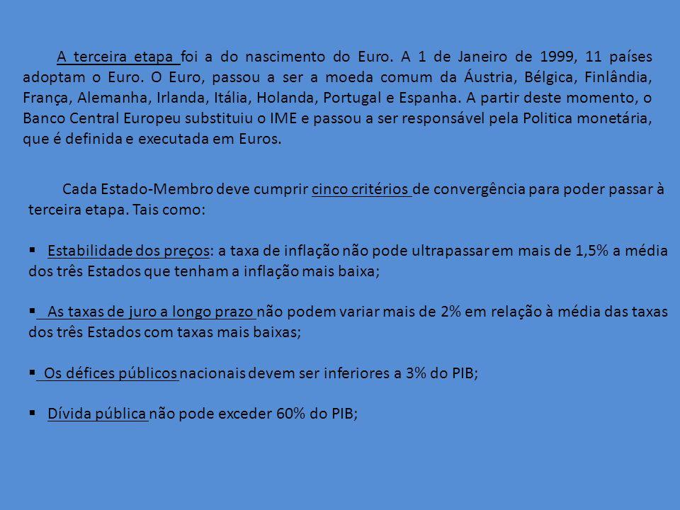 A terceira etapa foi a do nascimento do Euro.A 1 de Janeiro de 1999, 11 países adoptam o Euro.