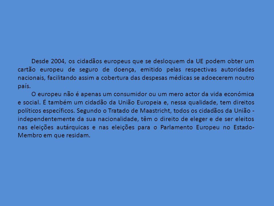 Desde 2004, os cidadãos europeus que se desloquem da UE podem obter um cartão europeu de seguro de doença, emitido pelas respectivas autoridades nacionais, facilitando assim a cobertura das despesas médicas se adoecerem noutro país.