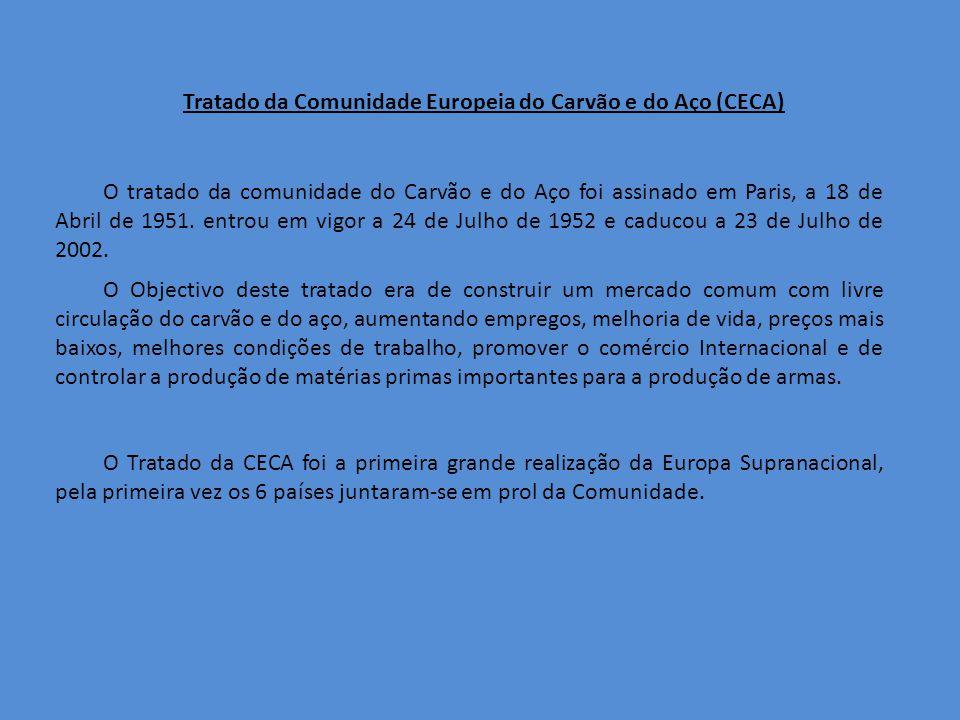 Tratado da Comunidade Europeia do Carvão e do Aço (CECA) O tratado da comunidade do Carvão e do Aço foi assinado em Paris, a 18 de Abril de 1951.