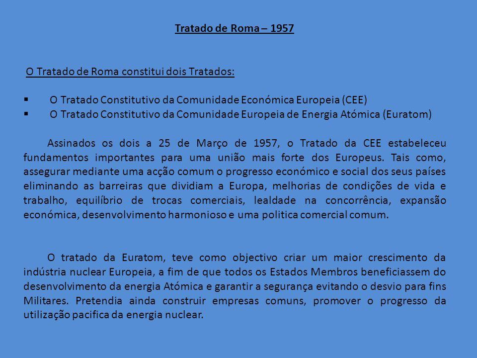Tratado de Roma – 1957 O Tratado de Roma constitui dois Tratados: O Tratado Constitutivo da Comunidade Económica Europeia (CEE) O Tratado Constitutivo da Comunidade Europeia de Energia Atómica (Euratom) Assinados os dois a 25 de Março de 1957, o Tratado da CEE estabeleceu fundamentos importantes para uma união mais forte dos Europeus.