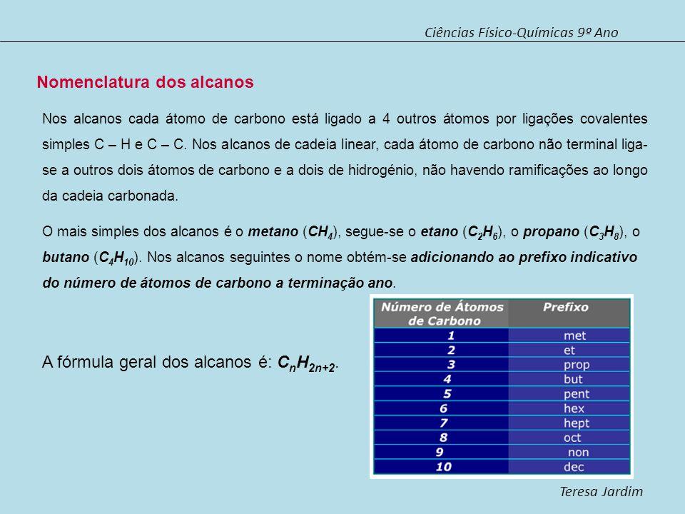 Ciências Físico-Químicas 9º Ano Teresa Jardim Alcanos de cadeia ramificada Quando o número de átomos de carbono na cadeia carbonada é superior a 3, as cadeias carbonadas podem se ramificadas.
